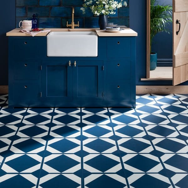 Harvey Maria Neisha Crossland Dovetail Oxford Blue Kitchen Floor