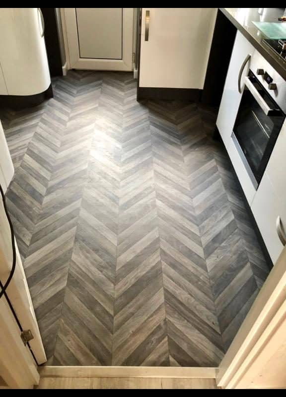 Chevron design cushioned vinyl floor